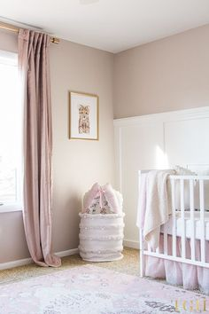 Blush Pink Velvet Curtains & Pink and Gold Baby Room Decor & Baby Animal Safari Prints & Baby Girl Nursery Room Ideas & White Board and Batten Wall Nursery Paint Colors, Gold Nursery Decor, Blush Nursery, Baby Room Decor, Nursery Room, Nursery Ideas, Pink Curtains Nursery, Pink Gold Nursery, Kids Room Curtains