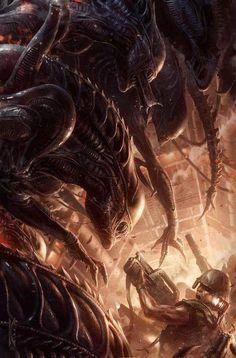 Top 10 Alien Comics of all time. Including classic comics like Aliens: Genocide, Aliens: Labyrinth and Nightmare Asylum Alien Vs Predator, Predator Alien, Sci Fi Horror, Arte Horror, Horror Films, Alien Films, Aliens Movie, Arte Alien, Alien Art