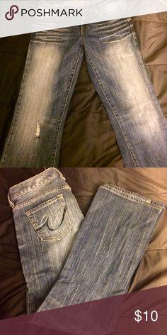 Express jeans Distressed blue denim jeans Express Jeans Boot Cut