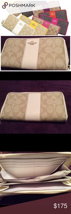 """Coach Signature Wallet Coach Sig Pvc Lth Acc Zip signature Wallet.  Coach Signature Fabric.  Leather Trim. Credit Card and Multi Function Pockets.  Full length bill fold compartment.  Zip coin pocket.  8""""(L) X 4""""(H)  New in original packaging.  Color:  Khaki Coach Bags Wallets"""