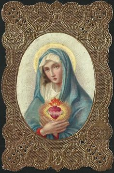 A Spanish holy card of the Immaculate Heart of Mary.