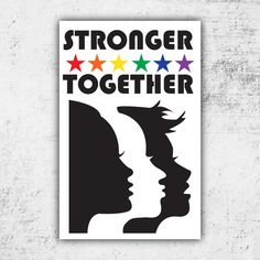 STRONGER TOGETHER // PRINTABLE Protest Sign // Digital Print *No Physical Item Shipped Intended for Womens March on Washington but can be printed & framed as well! (If another size is desired please let me know!) Sized at 11x17 & 18x24 (High Quality Print PDF & JPG) If youd like a different size please message me and Ill adjust! Recommended: Print at Staples (or like store) on 11x17 or 18x24 Heavy Cardstock Colors may slightly vary due to screen resolution...