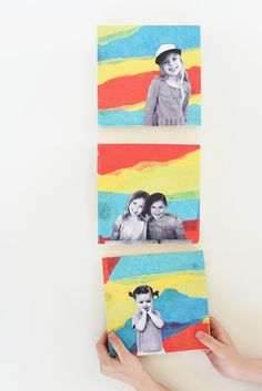 Make these modern and colorful DIY Tissue Paper Collages to hang on your wall! #diy