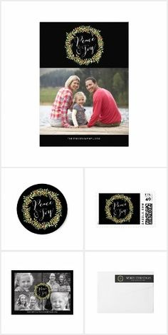 Peace and Joy Christmas Wreath Collection | Holiday photo card, postage stamp, sticker, return address label