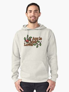 Apple Cider Lover Pullover Hoodie by Anastasia Shemetova #faerieshop #alcohol #drink #cider #funny #apple #fruit #branch #leaves #vector #flat #tasty #delicious #logo #outline #red #green #present #gift #idea #united #kingdom #uk #clothes #hoodies #mens #man #redbubble