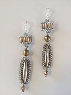 Earrings BiMetal Look Silver GoldBronze Long Oval door JekaLambert
