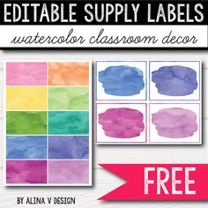 FREE Watercolor Supply Labels - Watercolor Classroom Decor