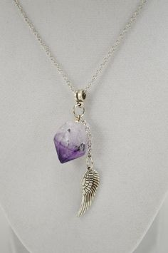Amethyst Point Angel Wing Necklace . Guardian Angel Amethyst Necklace . Boho Purple Necklace . Angel Wing Amethyst Necklace . Crown Chakra by StarshineInnovations on Etsy