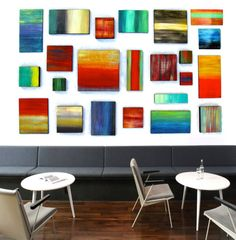 Custom Abstract Geometric Wood Wall Sculpture Art Installation  Modern Abstract Wood Wall Art Blocks a collection by Rosemary Pierce