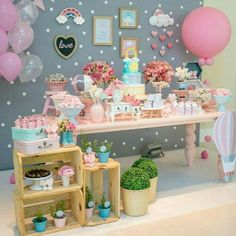 Create your perfect party with various decorations like the picture below!Choose from some of plain and themed birthday party decorations including banners, bunting, paper decorations, pom poms,baloon and more. Pig Birthday, 1st Birthday Parties, Birthday Party Decorations, Baby Party, Baby Shower Parties, Cloud Party, Idee Baby Shower, Unicorn Party, Party Planning