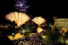 Fireworks explode over the lake