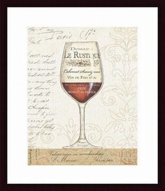 'Wine by the Glass I' by Daphne Brissonnet Framed Graphic Art
