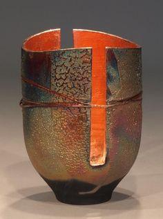 ♀ Ceramic sculpture art  porcelain art  Raku Pot with Wire