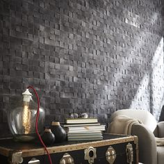 Plaquette de parement béton anthracite Motion. #homedecor #mur