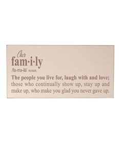 Look at this Vinyl Crafts Cream & Light Brown 'Our Family' Wall Sign on #zulily today!