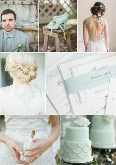 Mint and Scallop Wedding Inspiration from Shine Wedding Invitations!