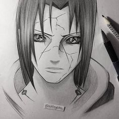 Simple Itachi sketch✏ - - I was reading vol.61 that my sister gave me yesterday for my birthday and I just couldn't resist to draw Itachi from chapter 578 Tell me what do you think! #itachi #manga #sketch