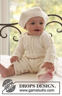 """DROPS knitted Basque hat and long sleeved jumpsuit with cables mid front in """"Merino Extra Fine"""". Free pattern by DROPS Design. Design bebe Little Lamb / DROPS Baby - Free knitting patterns by DROPS Design Baby Knitting Patterns, Baby Hats Knitting, Knitting For Kids, Baby Patterns, Free Knitting, Knitted Hats, Crochet Patterns, Knitting Designs, Drops Design"""