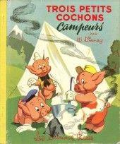 Walt Disney (Les Albums roses)  -5610- Trois petits cochons campeurs 1956