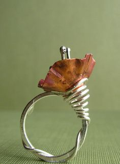 Ring | Jane Font.  'Hibiscus'.  Fold formed copper and fine silver  2 of my favs; wrapping and flowers <3