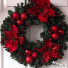 Wreaths Red Poinsettia Wreath By Tulippetalproduction, I Love Red And Green At Christmas Car Bras Fo Diy Christmas Decorations For Home, Christmas Centerpieces, Christmas Holidays, Christmas Crafts, Merry Christmas, Poinsettia Wreath, Christmas Ornament Wreath, Holiday Wreaths, Christmas Door Wreaths