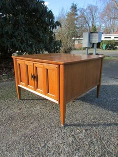 Mid Century Copenart for Morganton Walnut Side Table,  $85.00 (Love the folding doors.)