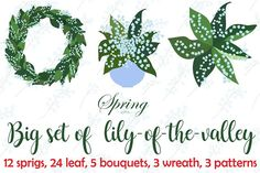 Lilies of the valley, big set. by Orangepencil on @creativemarket