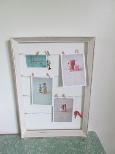 """A """"juliesgirlshed"""" vintage frame note board, mini pegs to clip on photos or special pics"""
