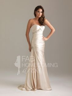 2012 Style Trumpet / Mermaid Sweetheart Rhinestone Sleeveless Sweep / Brush Train Elastic Woven Satin Prom Dresses / Evening Dresses (SZ021638 ) - FabHomecomingDress.com