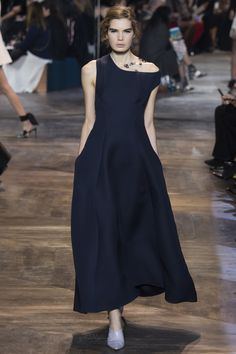 Christian Dior | Spring 2016 Couture | 49 Navy midi dress with asymmetrical shoulders