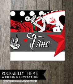 Rockabilly Wedding Invitation For That Offbeat By OddLotEmporium, $22.00