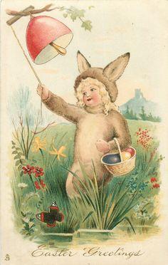 EASTER GREETINGS  child dressed as rabbit rings bell