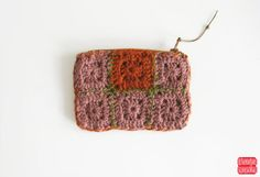 Brown Crochet Coin Purse, Terracota Granny Square Purse, Earthy Green Wallet, Knitted Zipper Pouch, Boho Gift Idea, Two Sided Purse