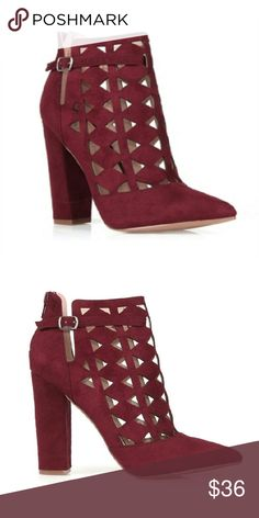 """Wine Cutout Booties High heel booties with stunning laser cut-outs, back zipper enclosure, and a comfortable block heel.  Faux suede, rubber outsole, 4"""" heel  ultrachicfashion.bigcartel.com Shoes Ankle Boots & Booties"""