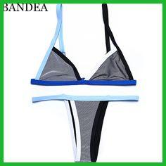 BANDEA Mesh Patchwork Scrunch Butt Swimwear Sexy Micro Bikini Brazilian Women Swimsuit Thong swimwear lingerie G-string Set