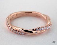 14K Rose Gold Diamond Pave Criss Cross Ring
