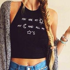 New Fashion Sexy Lady Women's Sleeveless O-neck Latter Print Backless Straps Crop Tops