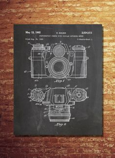 Camera Patent Wall Art Print, Patent Art, Blueprint, Patent Print, Plexity Prints by PlexityPrints on Etsy https://www.etsy.com/listing/219444949/camera-patent-wall-art-print-patent-art