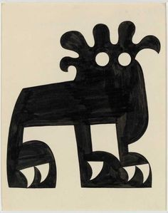 flotsamflotsam:Jean Arp, Lion, 1916. The work, made in India ink and pencil on paper, illustrated Tristan Tzara's poetry book De Nos Oiseaux, published in 1923. It was shown at Luxembourg & Dayan, London, 2012.