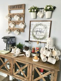coffee stations Counter Space coffee stations Decor You are in the r… – Tomikaaurea - Home Coffee Stations Coffee Bar Station, Coffee Station Kitchen, Coffee Bars In Kitchen, Coffee Bar Home, Home Coffee Stations, Coffee Nook, Coffee Corner, Coffee Cup, Coffee Maker