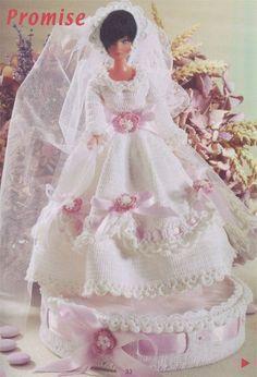 Barbie Crochê Miniaturas e Coisas Mais - De Tudo Um Pouco e Muito Mais: Como Fazer Boneca Barbie Com Vestido de Noiva de Crochê, Com Gráficos, Para Lembrança de Casamento