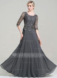 [€ 151.40] A-Linie/Princess-Linie U-Ausschnitt Bodenlang Chiffon Kleid für die Brautmutter mit Perlstickerei Pailletten