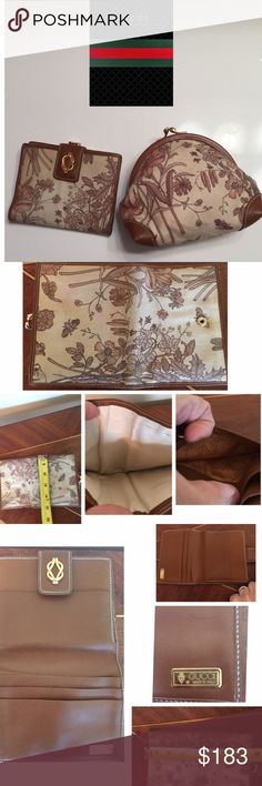 """Vintage Gucci Monotone Floral Wallet & Coin Purse This is A Vintage Gucci """"Set"""". From The Early 80's.  Super Rare! Monotone Sepia Brown. Made of Canvas & Brown Leather. Coin Purse measurements appropriately 5"""" L x 5 1/2"""" D x 1"""" W Serial # visible! Wallet Measurements appropriately 5"""" L x4"""" W. Canvas should be professional cleaned. Discolorations and stains present as expected on 34+ vintage.  This is cream. Inside nice on both! Leather beautiful. Wear on top of coin purse. See photos. Ask…"""