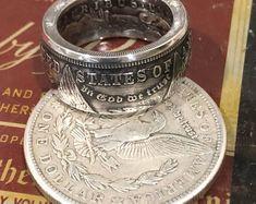 7499fc96e6 Anello fatto a mano delle monete del dollaro d'argento | Etsy Anelli  Anniversario,