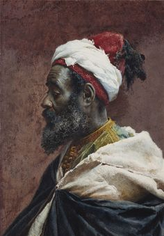 Josep Tapiró i Baró (Spanish, 1836-1913). Morrocan Man Seen in Profile. Watercolour on paper