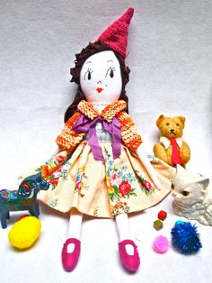Rag doll cloth art doll white linen embroidered face Small Molly Dolly, Lucinda