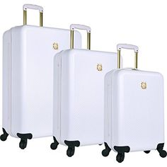 Anne Klein Aurora 3 Piece Hardside Spinner Luggage Set, White