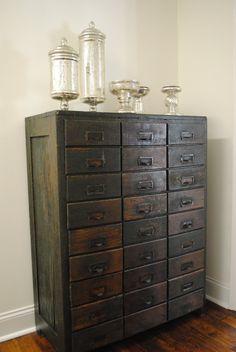 Antique card catalog and mercury glass