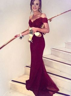 Sexy Mermaid Off-the-Shoulder Long Evening Dress Burgundy Graduation Dress Satin Prom Dress with Lace Top