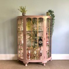 Vintage Glass Drinks Cabinet, Hand Painted In Damask Pink & Gold, Decoupaged Art Dec. Upcycled Vintage Glass Drinks Cabinet, Hand Painted In Damask Pink & Gold, Decoupaged Art Deco Geometric Tropical Cocktail Display Cabinet Decor, Tropical Art Deco, Upcycle Glass, Painted Furniture, Upcycled Vintage, Art Deco Interior, Display Cabinet, Deco Furniture, Interior Deco